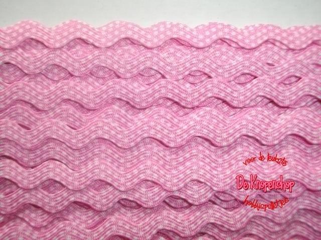 Zigzagband roze polkadot 5mm