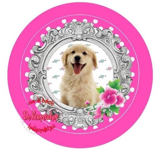 Flatback hondje & fuchsia polkadot(k848)