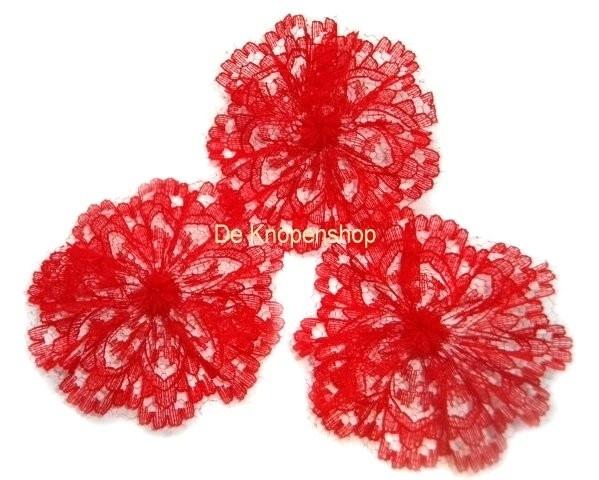 Kanten rozet/bloem rood pst 4,5cm