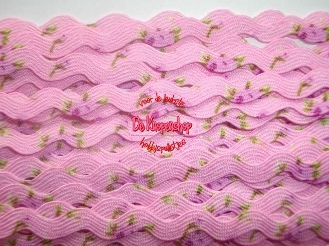 Zigzagband roze roosjes 5mm