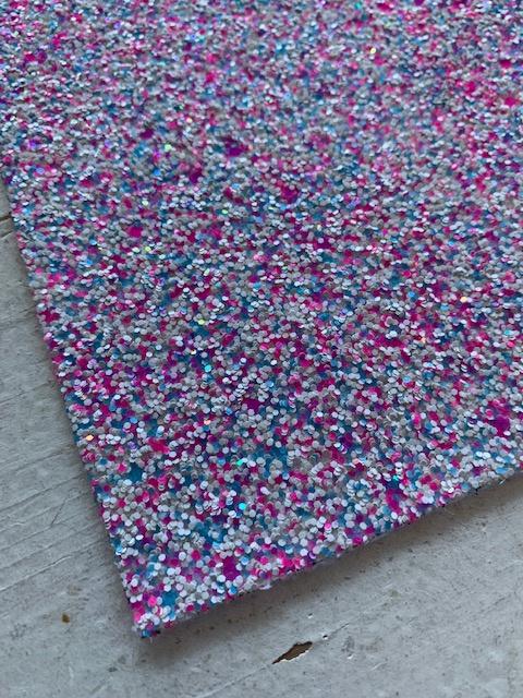 Glitter Leer grof roze/blauw confetti mix 20x32 cm