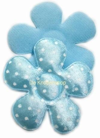 A0350a Polkadot bloemen baby blauw 4,5cm