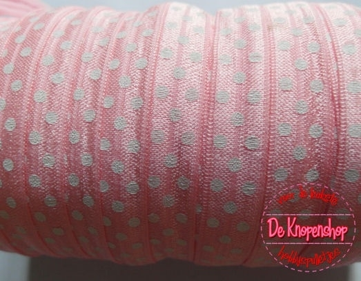 Haarband elastiek baby roze polkadot 1,5 cm