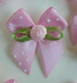 Strikje roze polkadot & roosje