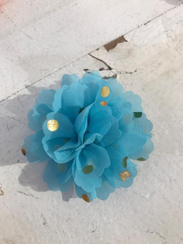 Bloemen chiffon 7 cm blauw polkadot goud
