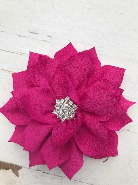Luxe bloem satijn met ster strass hot pink