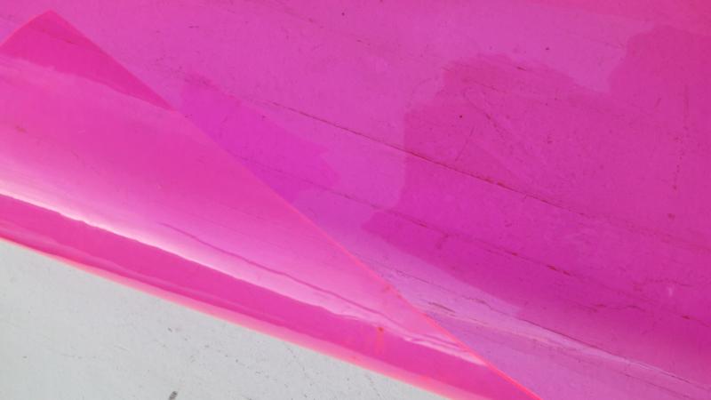 Leer doorzichtig/transparant kristal neon roze 10x30 cm