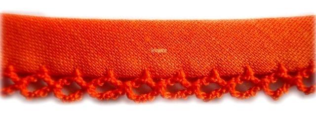 Biasband met kantje oranje