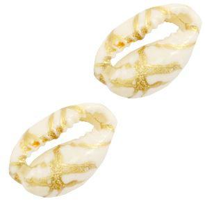 Schelp stukjes Kauri ivoor-gold