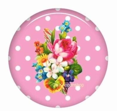 Flatback bloemen polka dot roze (k127)
