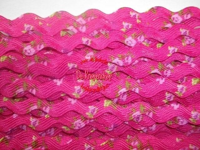 Zigzagband fuchsia roosjes 5mm