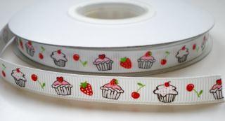 Sierband cupcake aardbei kers 1 cm