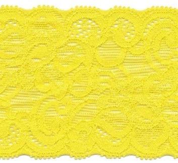 Elastisch kant (haarbandjes) geel 6.5cm