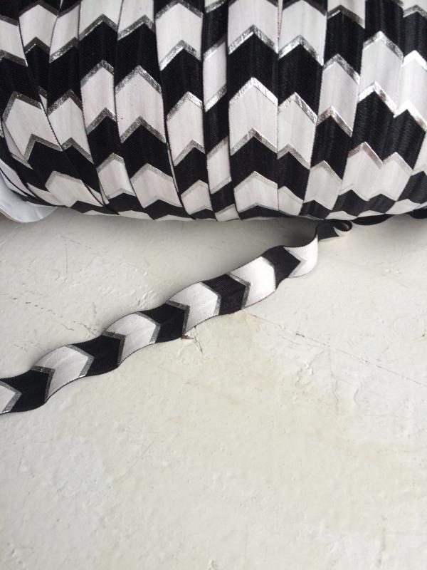 Elastisch band zwart/zilver/wit