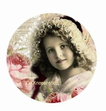 Flatback meisje mutsje & rozen (k122)