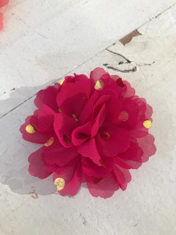 Bloemen chiffon 7 cm fuchsia polkadot goud