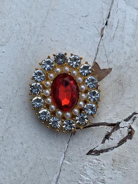 Luxe rhinestone diamant rood parels gold