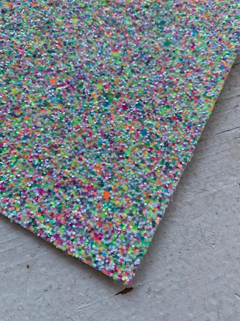 Glitter Leer grof geel/groen/oranje confetti mix 20x32 cm