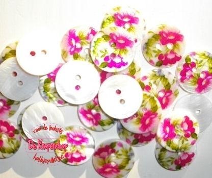 KN557b Parelmoer bloemen roze & lime