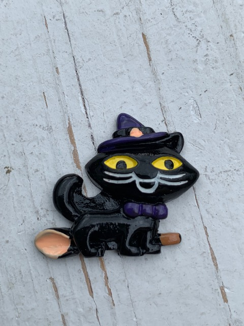 Flatback  black kat halloween