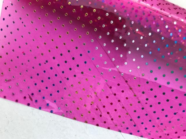 Leer doorzichtig hot pink polkadot regenboog  20x30 cm