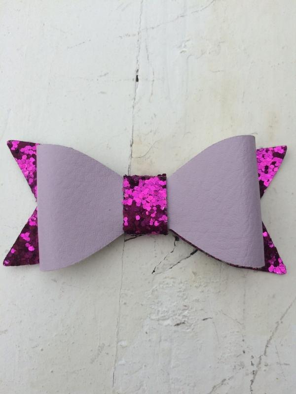 Strik  leer/glitter 7 cm fuchsia/roze