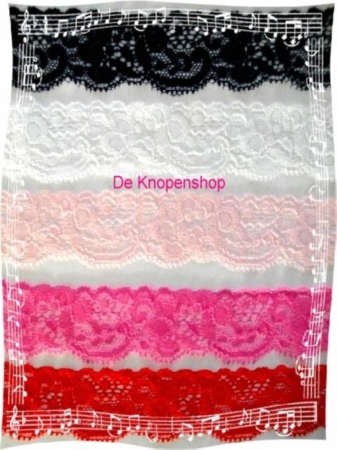 Elastisch kant (haarbandjes) licht roze 3.5cm