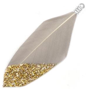 Veertjes dip-dye glitter Taupe grey-goud