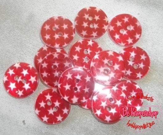 Ster parelmoer knoop rood1,8cm