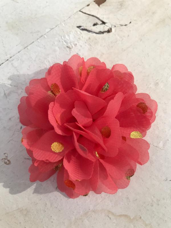Bloemen chiffon 7 cm coral polkadot goud