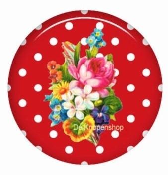 Flatback bloemen polka dot rood (k129)