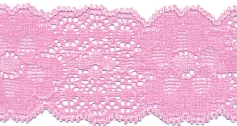 Elastisch kant (haarbandjes) licht roze 5 cm