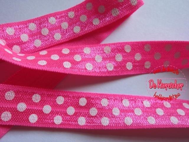 Haarband elastiek fel roze polkadot 1,5 cm