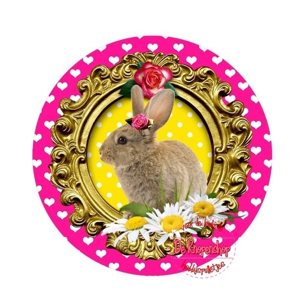 Flatback Bunny in frame geel polkadot(k894)