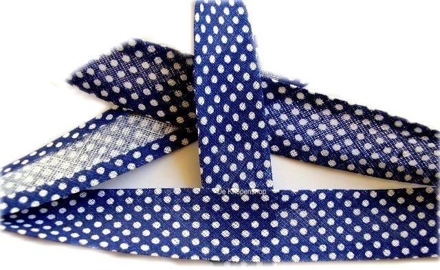 BD8aa Biasband blauw met witte stip katoen