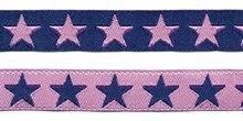 Donker blauw sierband met roze sterren 2-zijdig 12 mm