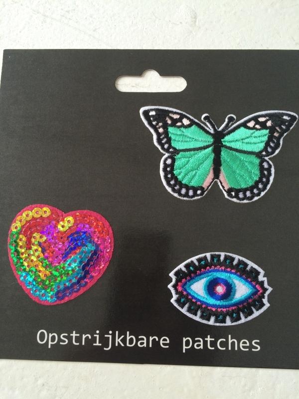 Patches Hart/Oog/Vlinder opstrijkbaar