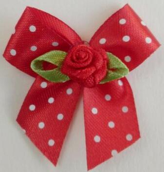Strikje rood polkadot & roosje