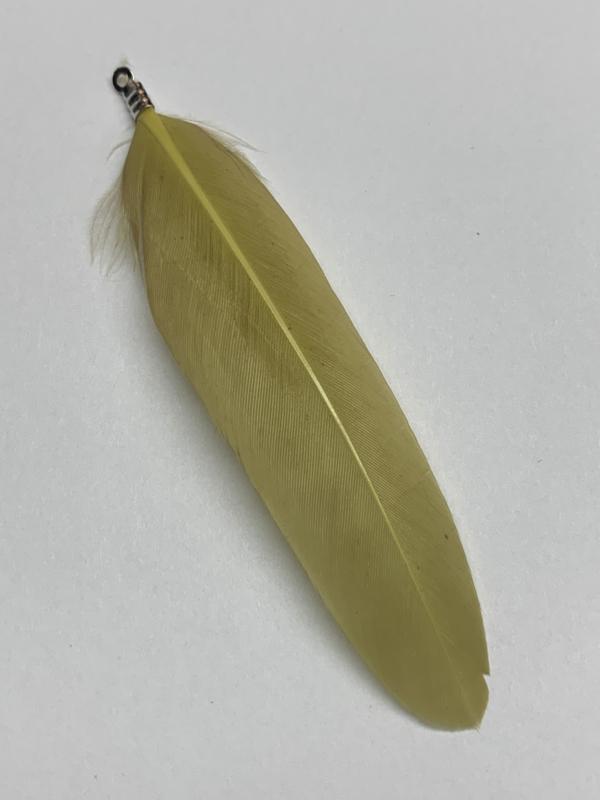 Ibiza veertje groen/geel met oogje zilverkleurig