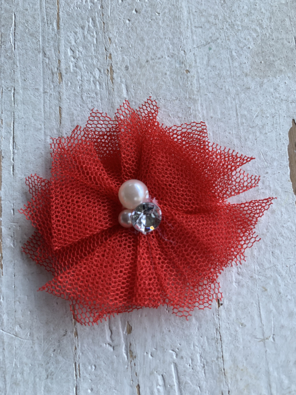 Bloem tule met parels & strass rood