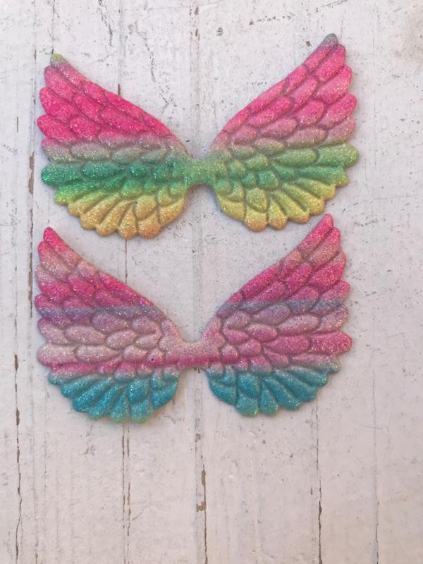 Vleugels glitter regenboog 6cm
