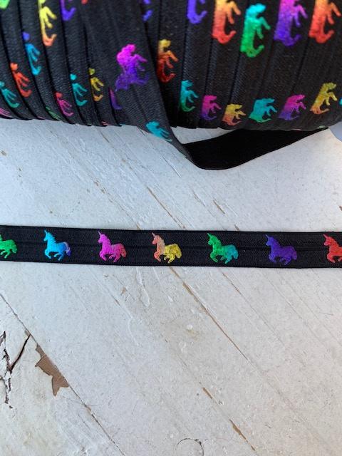 Elastisch band zwart rainbow hologram unicorn