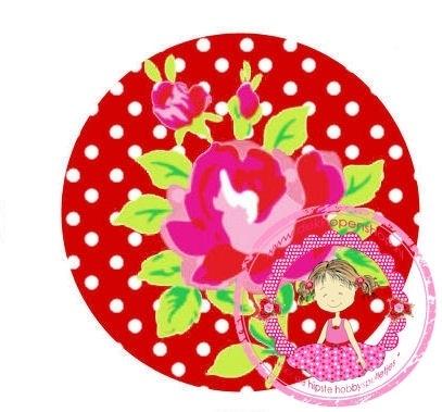 Flatback fuchsia roosje op rode polkadot(k989)