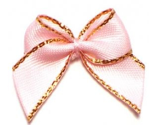 Strikje licht roze goud  satijn