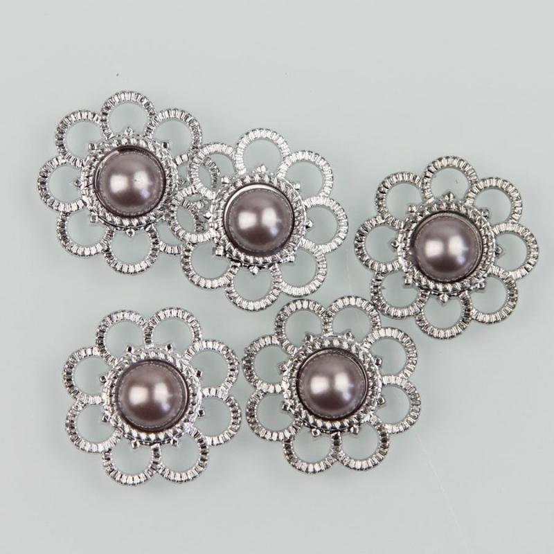 Flatback  bloem met bolletje zilver grijs