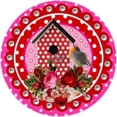 Flatback  vogeltje & vogelhuisje ala pip (k011)