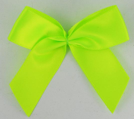 Strik satijn neon geel/groen 6.5cm