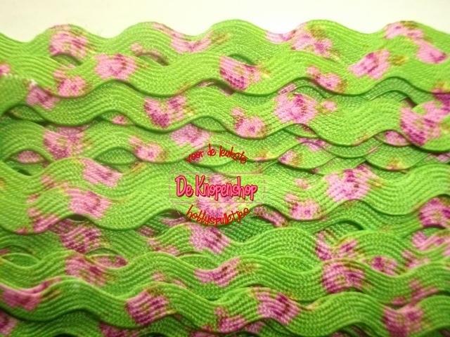 Zigzagband lime roosjes 5mm