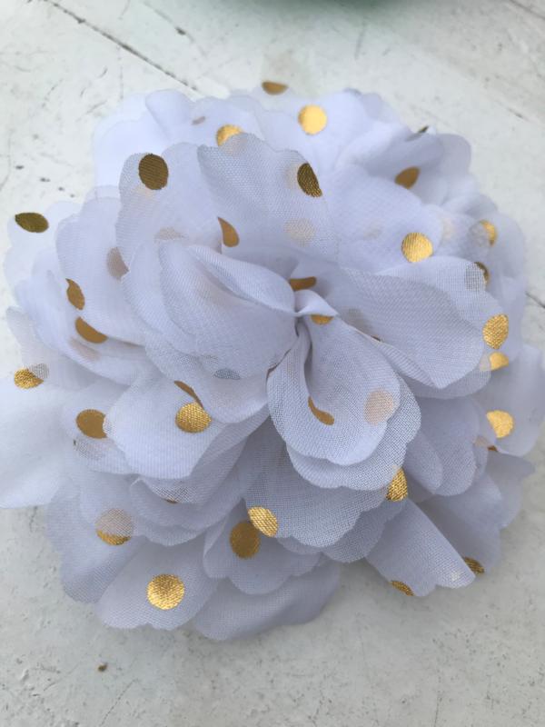 Bloemen chiffon 10 cm wit polkadot goud