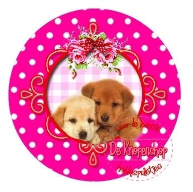 Flatback  2 puppies polkadot fuchsia (k014)